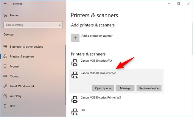 Una impresora inalámbrica instalada desde la configuración de Windows 10