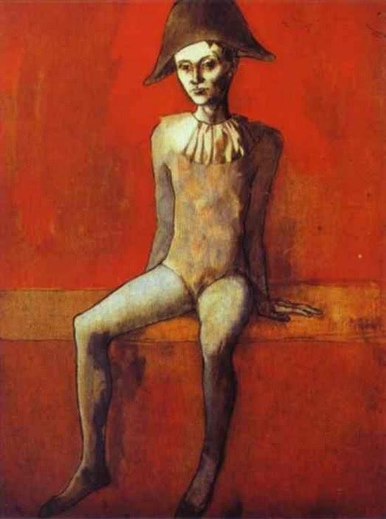 Arlequin sur un canapé rouge - Pablo Picasso