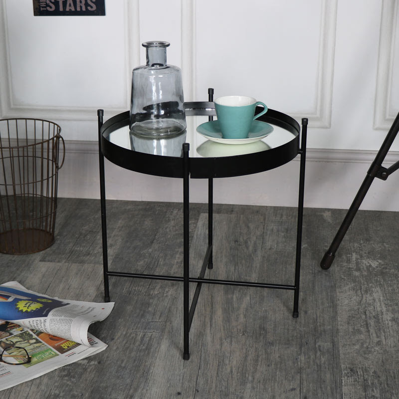 Black Mirrored Display Tray Table - Melody Maison®