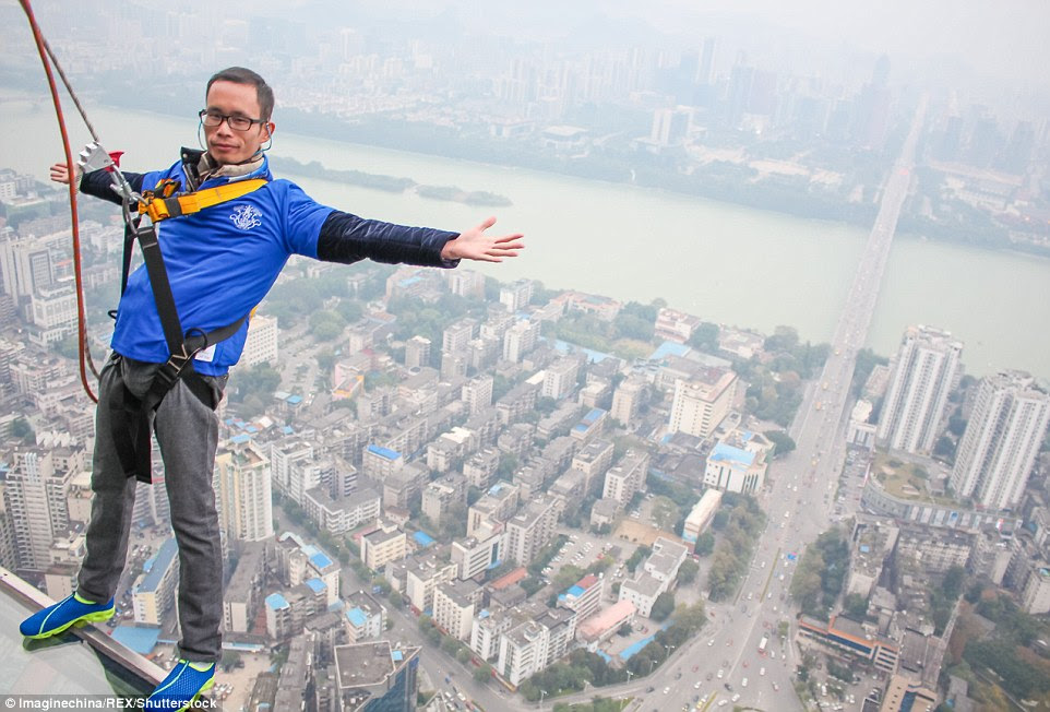The Chinese outdoor glass skywalk is the fourth of its kind in the country, and the first one in Guangxi