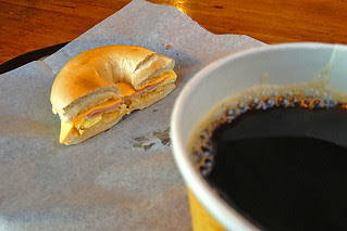 Pebbles Cafe - Coffee and Half Bagel