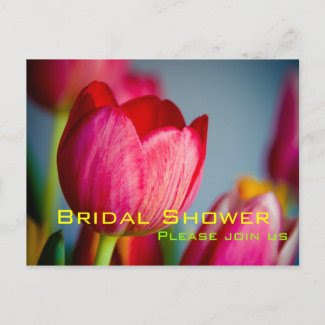 Red Tulips • Bridal Shower Invitation Postcard postcard