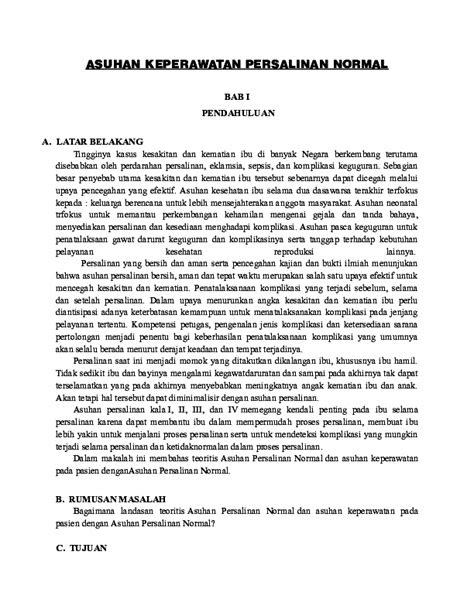 (DOC) ASUHAN KEPERAWATAN PERSALINAN NORMAL.docx | ACEP