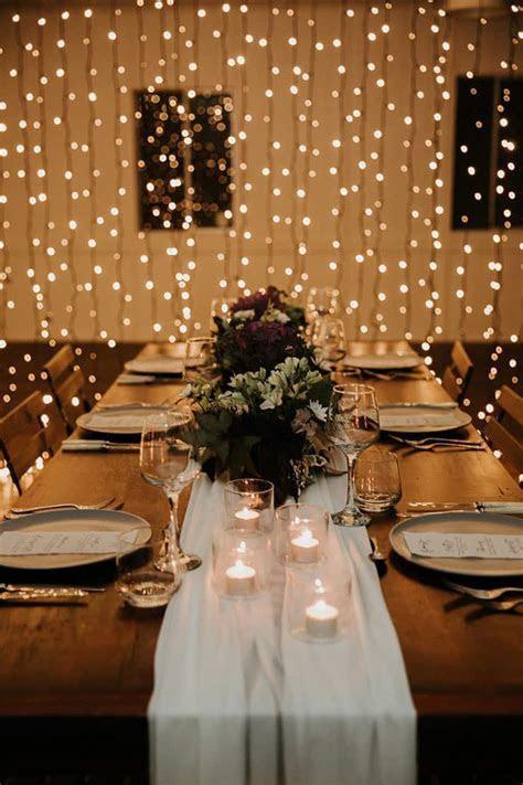 Modern Indoor Wedding Styling Ideas with Fairy Lights