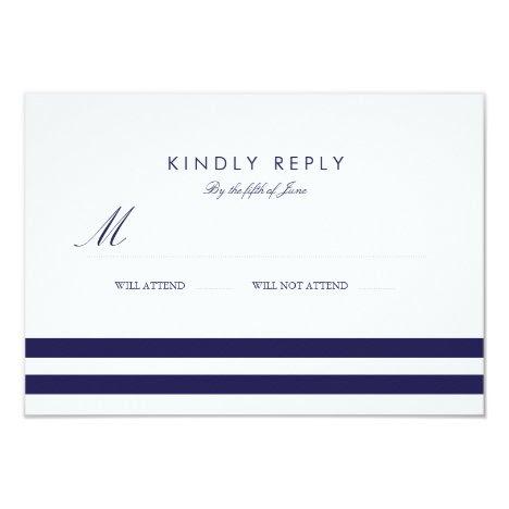 Nautical Navy Wedding RSVP Card