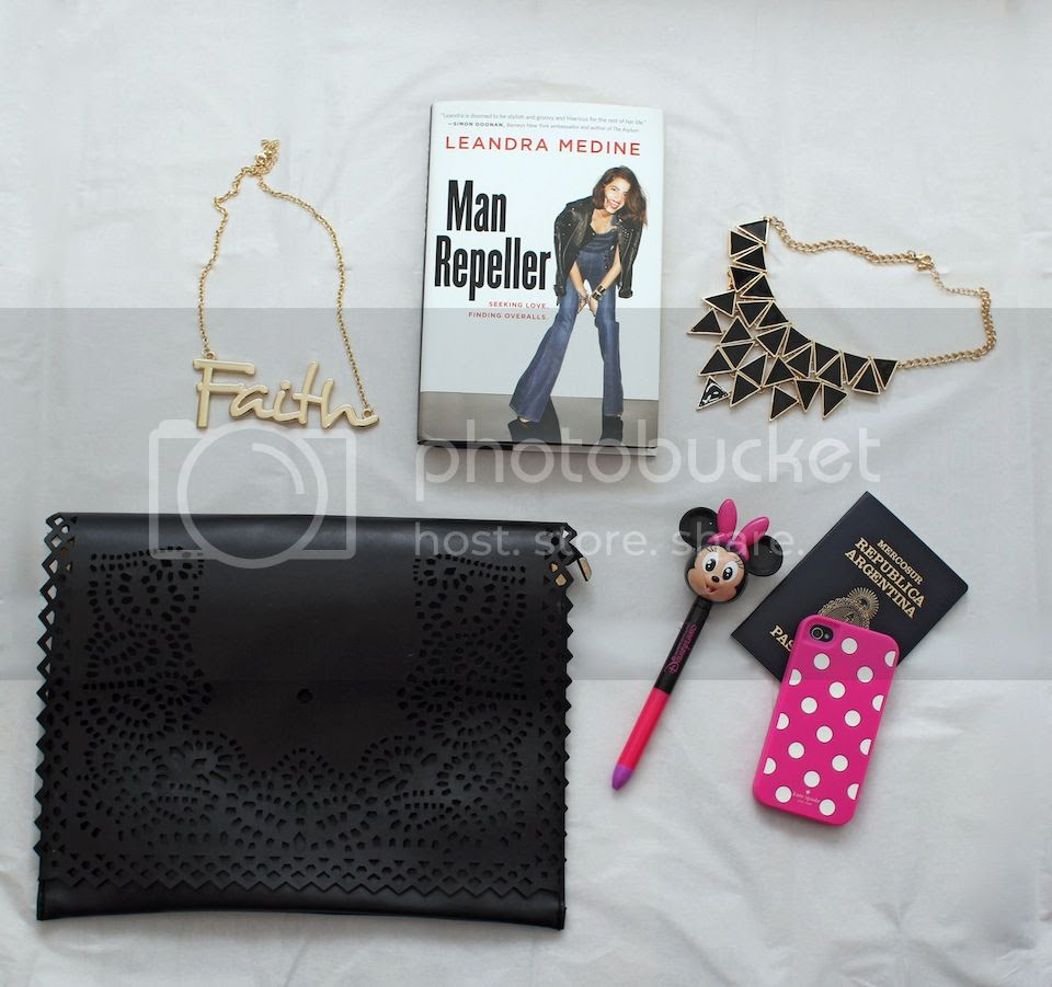 fashion blogger Austria packing what to pack trip to Buenos Aires Man repeller book Leandra Medine necklaces forever 21 hm faith necklace disney pen Lookbook store eyelet flap clutch