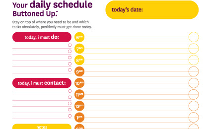 Free printable 24-hour daily schedule form « Buttoned Up