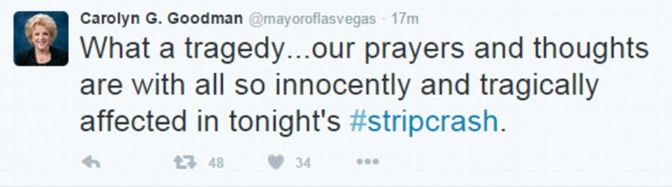 The mayor of Las Vegas, Carolyn G. Goodman, posted this tweet describing the crash on the strip on Sunday evening as a 'tragedy'