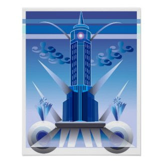 Classic Art Deco City Building Poster