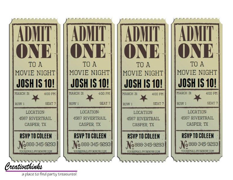 Editable Vintage Movie Ticket Invitation Digital File | Etsy