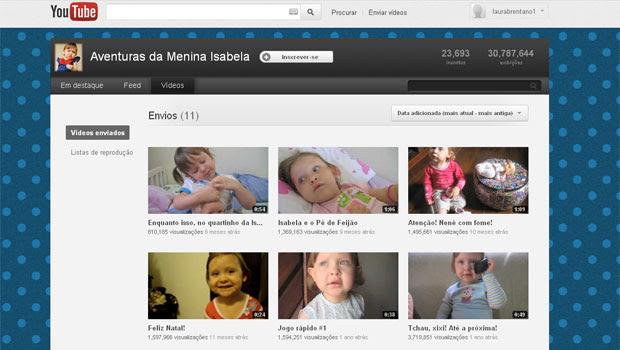 Canal de Isabela no YouTube já recebeu mais de 30 milhões de acessos (Foto: Reprodução)