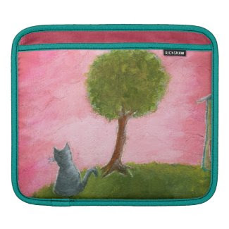 Abstract Whimsical Cat Art Painting iPad Sleeve