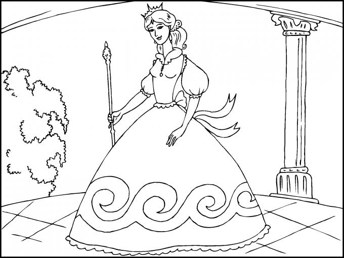 Princesa Con Un Bonito Vestido Para Imprimir Paracolorearnet