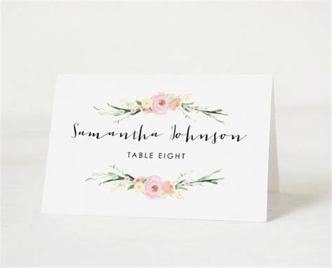 Printable Place Card Template, Wedding Place Cards