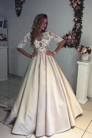 Champagne Half Sleeves V neck Ruched Long Prom Dress with