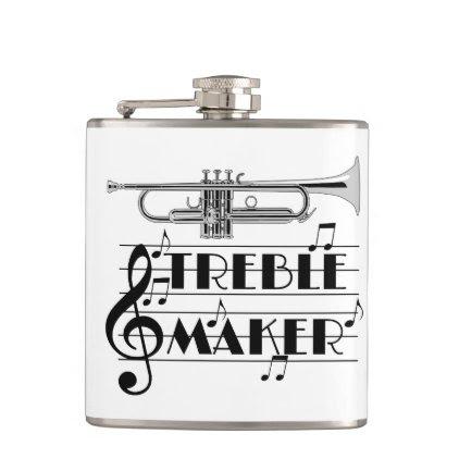Trumpet Player Treble Maker Hip Flask