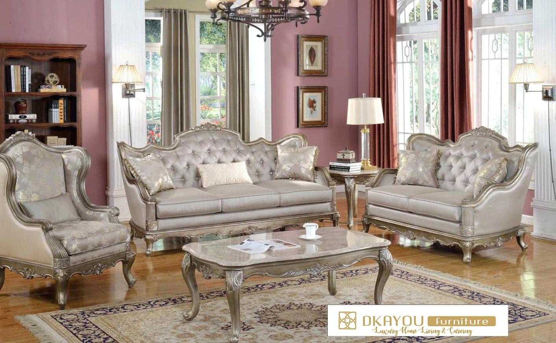 Set Kursi Sofa Ruang Tamu Jepara Mewah Vintage Terbaru Dkayou