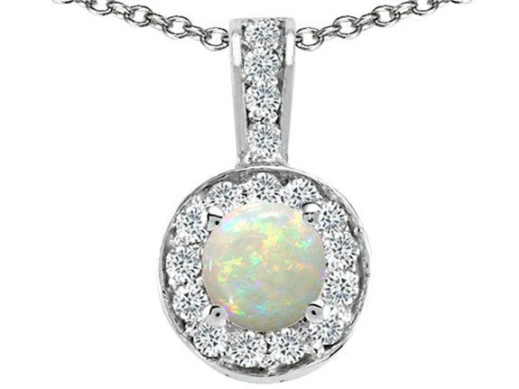 Tommaso Design Round Genuine Opal and Diamond Pendant White Gold