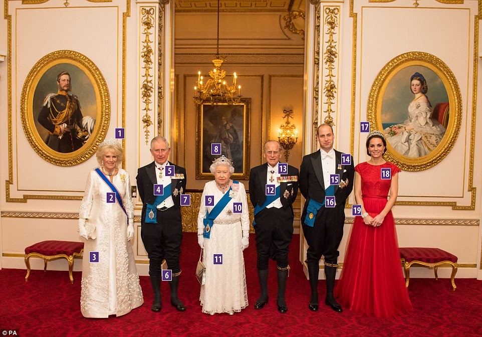 The Duchess of Cornwall, the Prince of Wales, Queen Elizabeth II, the Duke of Edinburgh, and Duke and Duchess of Cambridge arrive for the annual Diplomatic Reception at Buckingham Palace - but what are they wearing?