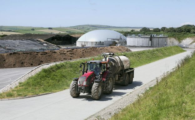 A tractor at an anaerobic digestion plant