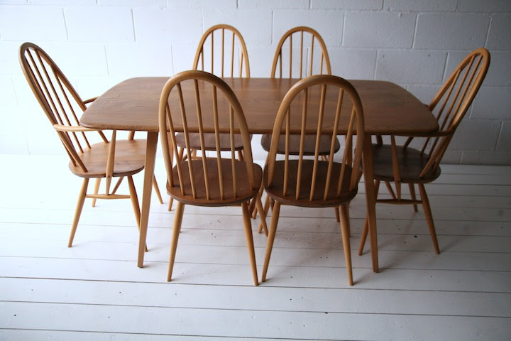Ercol Dining Table and 6 Chairs  Cream and Chrome