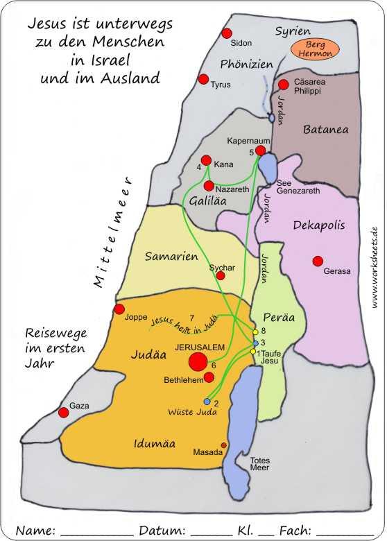 Landkarte Israel Zur Zeit Jesu Grundschule - Top