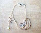 Sterling Silver, Hand Made Bird Necklace, Robin With Swarovski, Modern, Minimalist & Chic Design - JollyJewel
