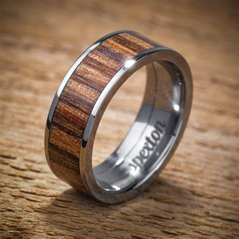 Titanium Wood Wedding Band Applewood Men's Ring by spexton