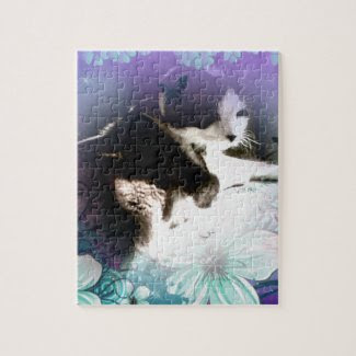 snowshoe hiding in the flowers kitty jigsaw puzzles