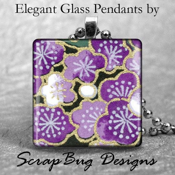Glass Washi Pendant 1 Inch Square--Purple Cherry Blossoms
