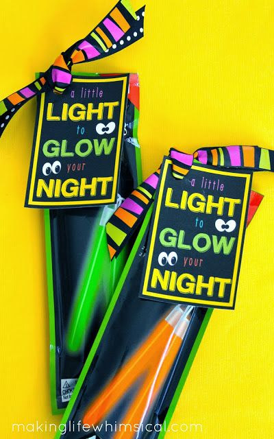 Give NEON GLOW STICKS with adorable tag!  Found in the $1.00 section at Target!