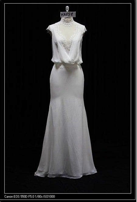 Informal cap sleeve wedding dress with Cowl neckline by