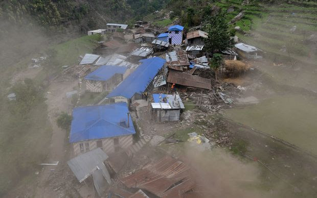 Damaged houses are seen from an Indian Army helicopter at Lapu in the Nepalese area of Gorkha.