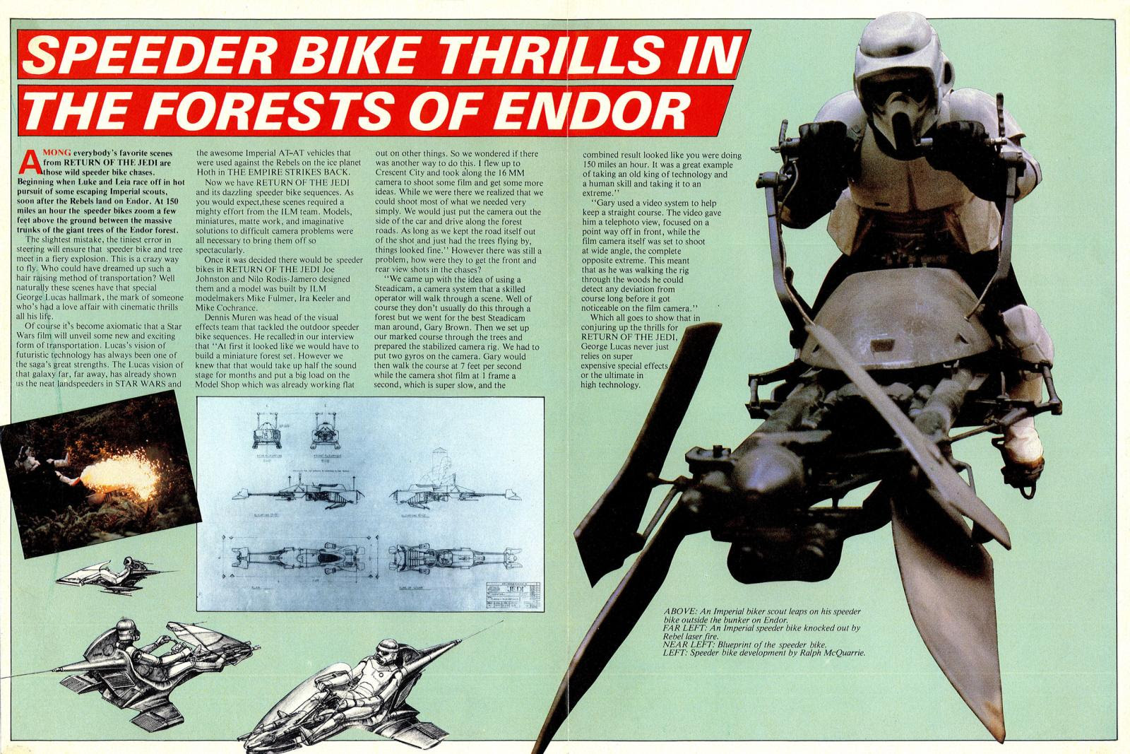 star wars return of the jedi poster magazine 3 speeder bike scout trooper endor