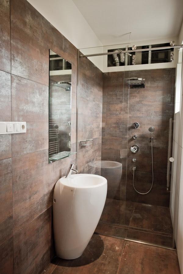 Brown  bronze bathroom  tile  Interior Design Ideas