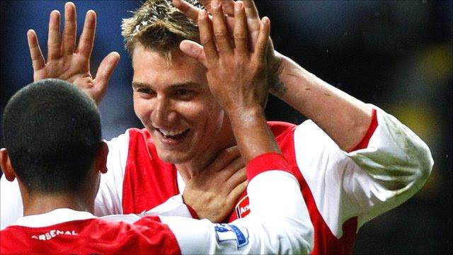 Theo Walcott and Nicklas Bendtner