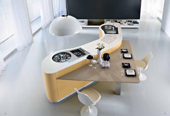 curvy white kitchen