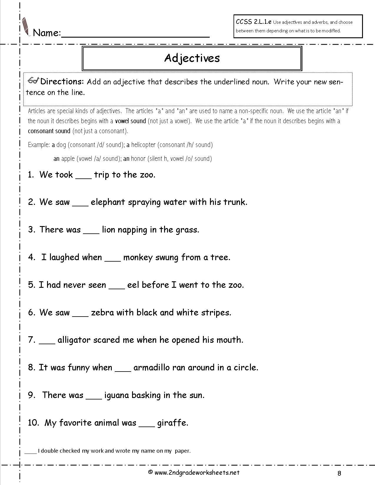 15 Best Of Nouns And Adjectives Worksheets