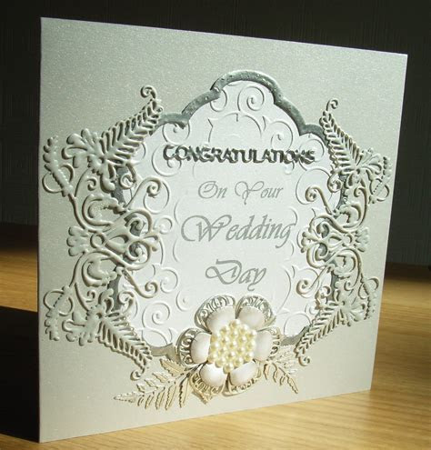 Wedding card made using Tattered Lace Venetian Fern die