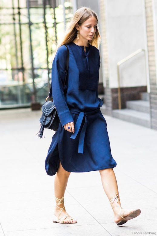 Le Fashion Blog Street Style Jennifer Neyt Nyfw Blue Silk Dress Chloe Tassel Saddle Bag Nude Lace Up Flat Sandals Via A Love Is Blind