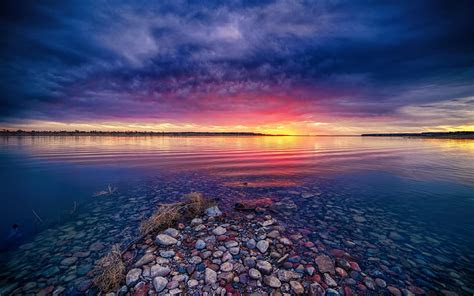 quiet shallow lake  sunset wallpapers  images