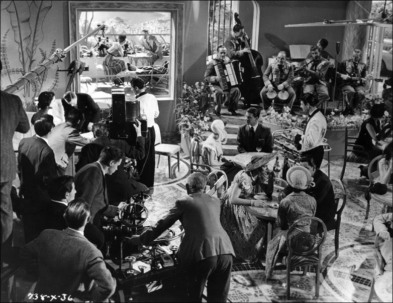 The film crew shooting a restaurant scene for the film comedy classic 'The Lavender Hill Mob'