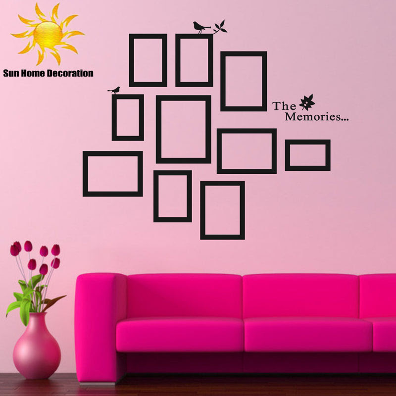 Aliexpress.com : Buy DIY Photo Frame Black Removable Vinyl Wall Stickers Decals Quote Living