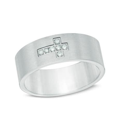 Men's Diamond Accent Sideways Cross Wedding Band in