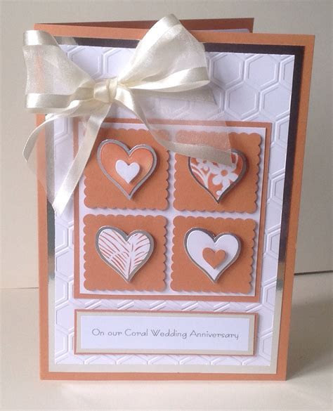 Coral Wedding Anniversary card for my husband based on a