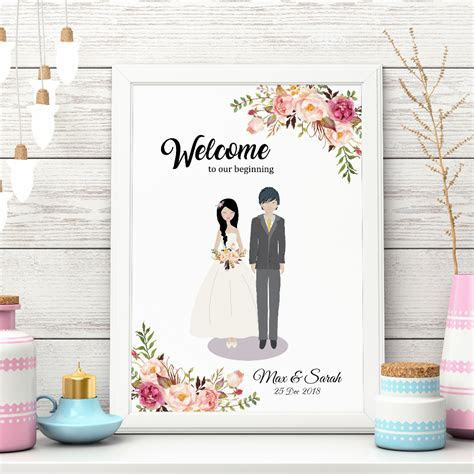 [somegoodwords] Wedding Sign, Wedding Guest Book, Couple