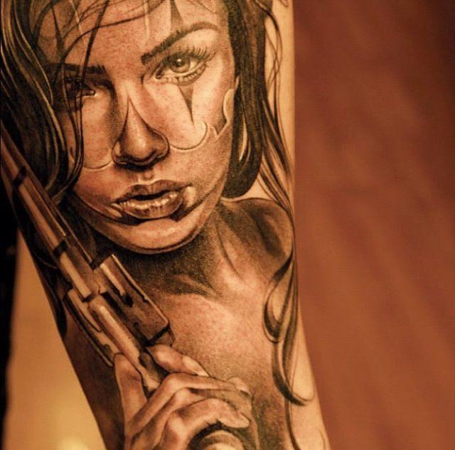 Clown Face Girl With Gun Tattoo Tattoomagz
