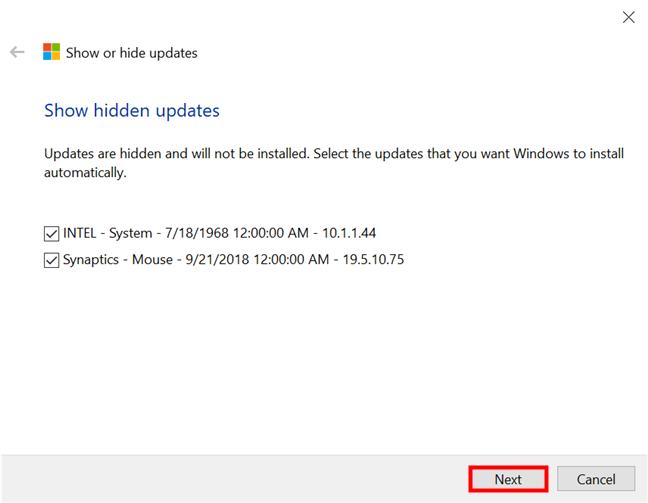 Seleccione las actualizaciones ocultas que desea mostrar nuevamente e instálelas en Windows 10