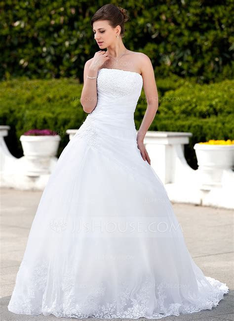 Ball Gown Strapless Chapel Train Satin Organza Wedding