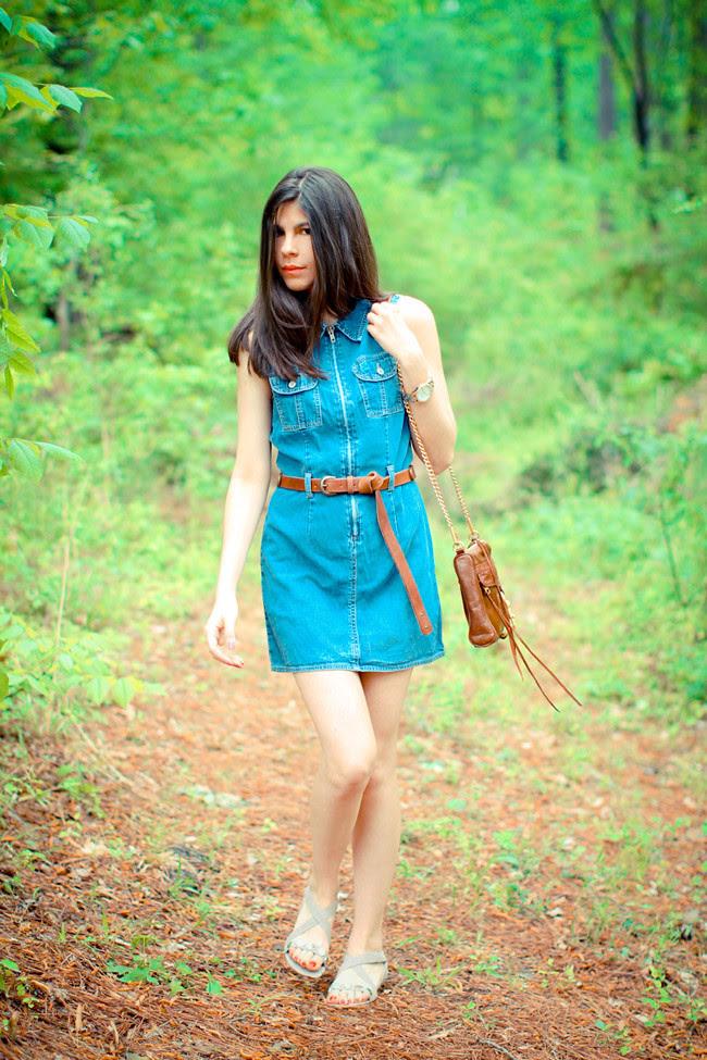 Gap denim dress, Asos leather boyfriend belt, Rebecca Minkoff bag, Diba sandals, Fashion Outfit